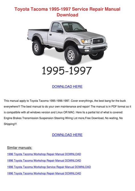 how to download repair manuals 1995 toyota t100 transmission control toyota tacoma 1995 1997 service repair manual by ismaelgarrett issuu