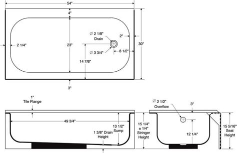 standard bath tub dimensions