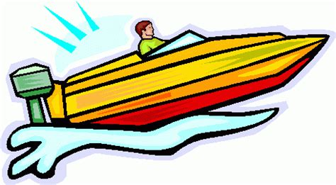 cartoon yellow boat power boat clipart