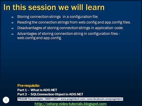 tutorial on web config in asp net sql server net and c video tutorial part 3