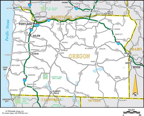 oregon road map road maps of oregon state