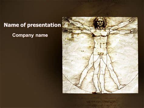 Vitruvian Man By Leonardo Da Vinci Powerpoint Template Backgrounds 06107 Poweredtemplate Com Leonardo Da Vinci Powerpoint