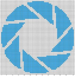 apupa pattern library science ravelry aperture science logo chart portal pattern by