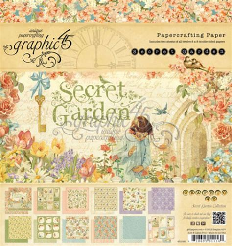 secret garden coloring book paper source graphic 45 secret garden 8 x 8 paper pad