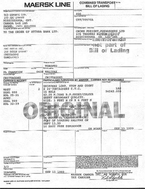 bill of lading template canada bill of lading sle rbc royal bank