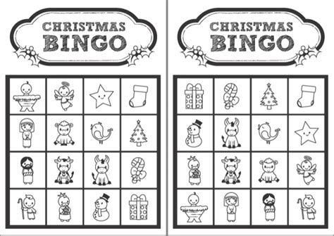 Printable Christmas Bingo Cards Black And White | christmas bingo black and white