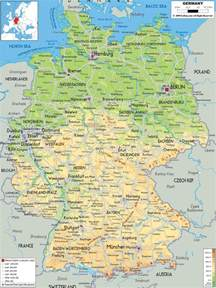 large detailed physical map of germany with all cities