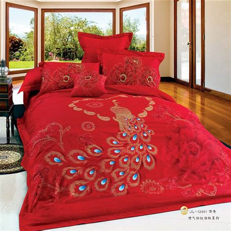 red comforter set queen chinese wedding peacock phoenix print oriental bedding set
