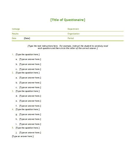 word templates for questionnaires free 33 free questionnaire templates word free template