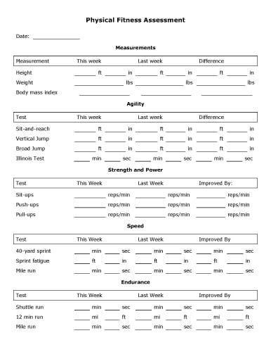 physical assessment form 5 physical assessment forms word templates