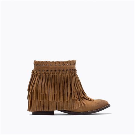 suede boots with fringe zara suede fringed ankle boots in brown leather lyst