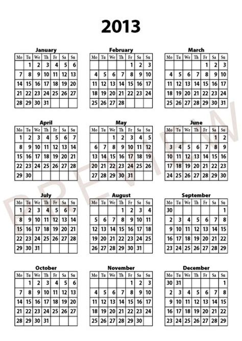 free 2013 calendar template indesign inx
