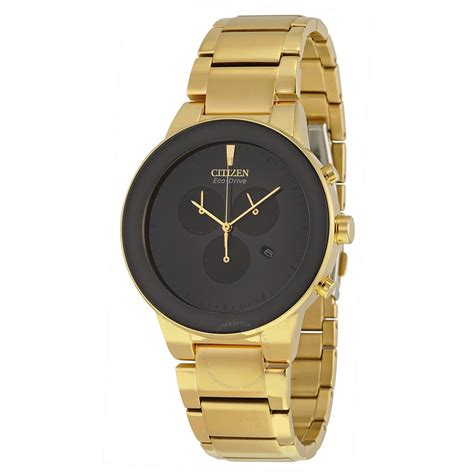 citizen gold citizen axiom eco drive chronograph black gold tone