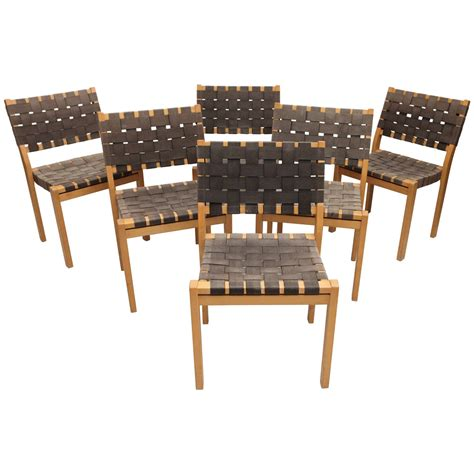 Set Of Six Alvar Aalto Woven Seat Dining Chairs At 1stdibs Woven Dining Room Chairs