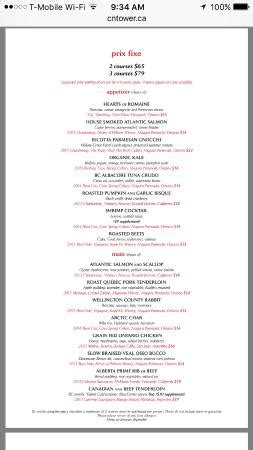 360 Restaurant Gift Card - menu picture of 360 the restaurant at the cn tower toronto tripadvisor