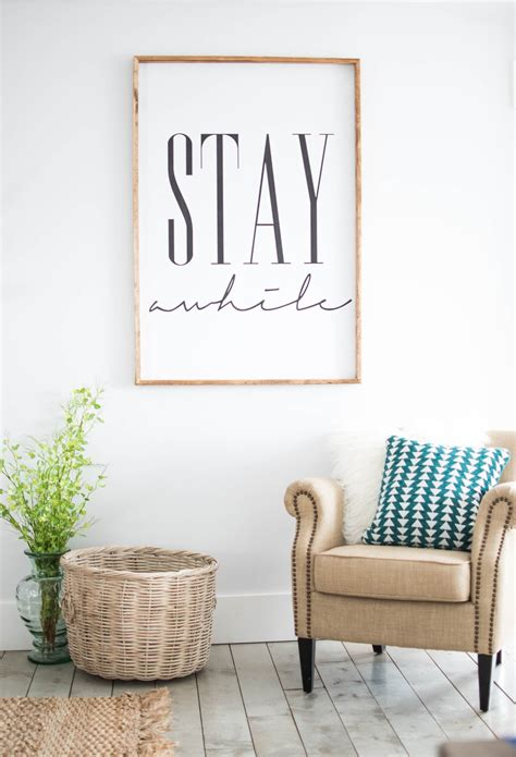 At Home Wall Decor | stay awhile framed print home decor wall art by
