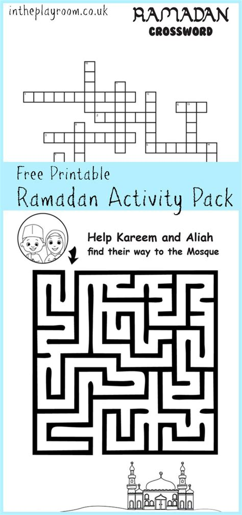 Ramadan Maze And Crossword Printable Activities In The Playroom Printables Activities