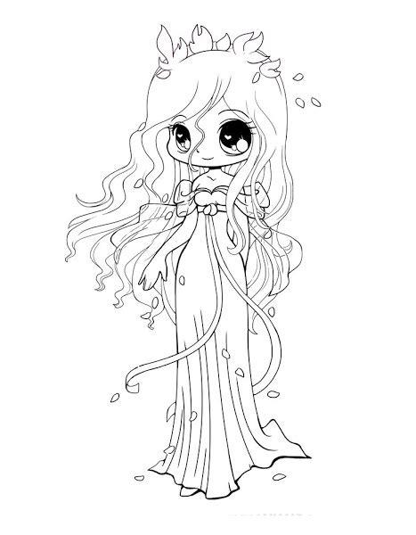 Cute Chibi Princess Coloring Pages Coloring Download Anime Chibi Princess Printable