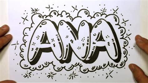 draw graffiti letters write ana  bubble letters