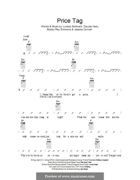 Collection Of Price Tag By Jessie J Ukulele Tabs On Ukutabs Piano