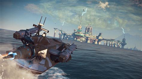 fast boat in just cause 3 just cause 3 s bavarium sea heist dlc given release date
