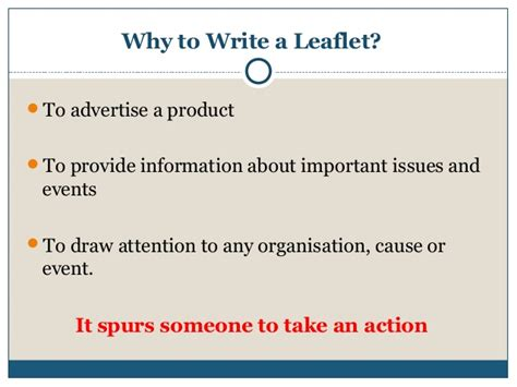 how to write a leaflet writing presentation