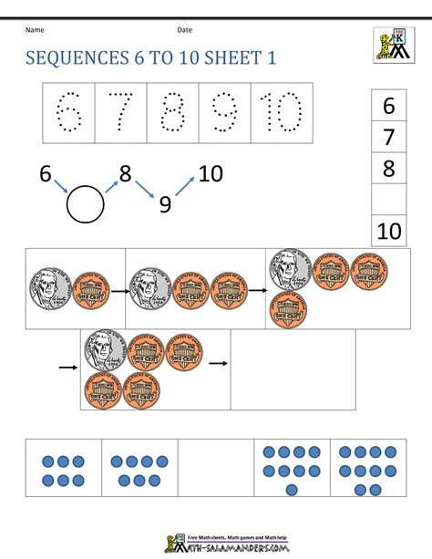 sequence numbers 1 10 printable preschool number worksheets sequencing to 10