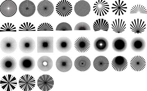 Design Elements Radiation | series of black and white design elements vector material