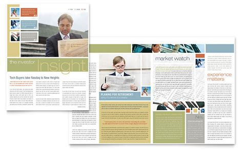 microsoft newsletter layout templates investment advisor newsletter template word publisher
