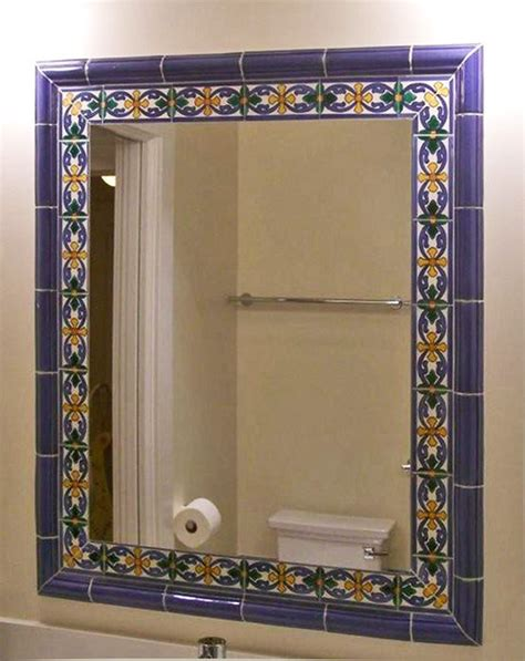 tile framed bathroom mirror tile framed mirror mediterranean bathroom other
