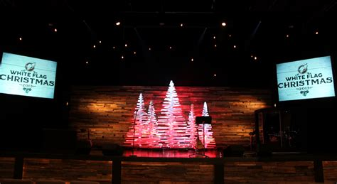 rotating christmas sticks church stage design ideas