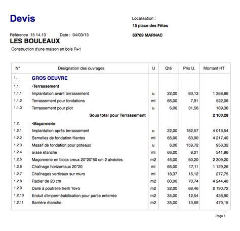 Exemple Devis Construction Maison Individuelle 2081 by Devis Construction Maison En Bois R 1 Devis Travaux