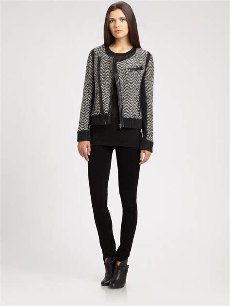 Cardi Parka rag bone leather trim tweed cardi jacket in gray black lyst