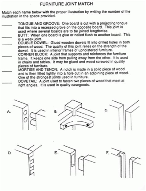 woodwork worksheets for students
