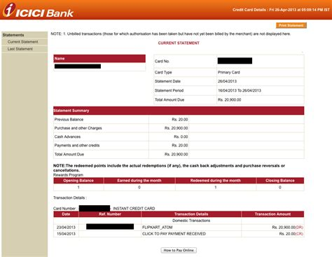 Icici Bank Credit Letter Icici Visa Credit Card Statement Infocard Co