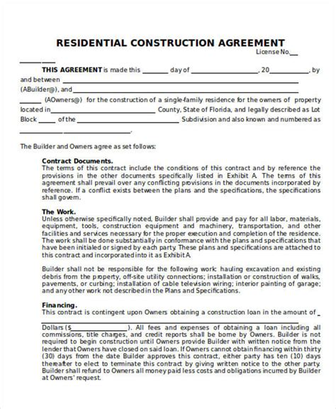 25 Construction Agreement Forms Templates Sle Templates Residential Construction Contract Template