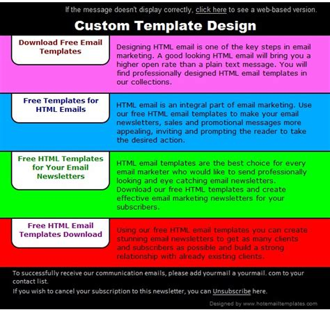 Colorful Bookmarks Free Html E Mail Templates Colorful Email Templates