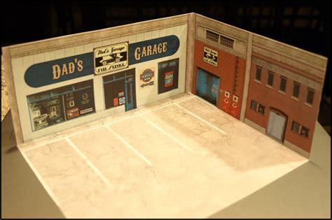 printable garage diorama paperkraft city