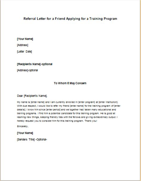 Referral Letter Exle