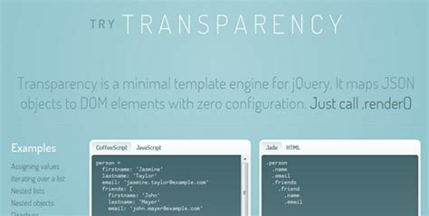 transparency a minimal template engine for jquery