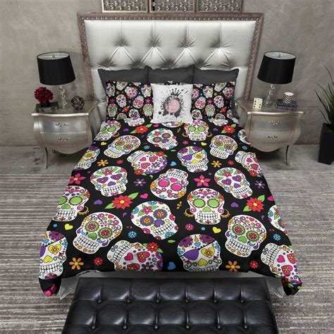 day of the dead bed set day of the dead sugar skull bedding ink and rags