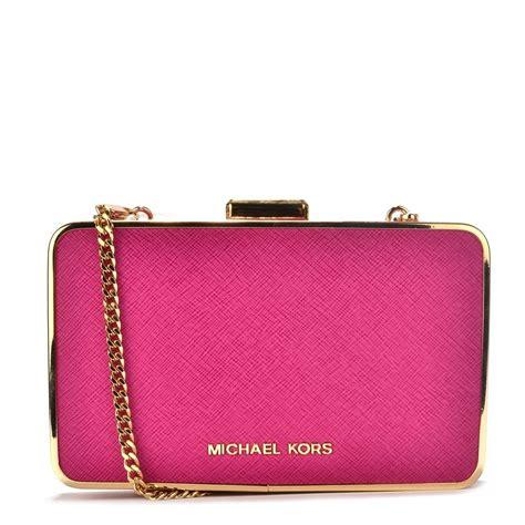 Michael Kors Pink Fuschia michael michael kors elsie fuschia pink leather box clutch