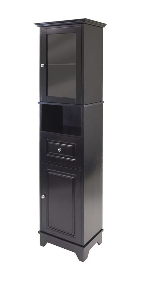 winsome alps tall home kitchen storage cabinet with glass door and drawer black ebay