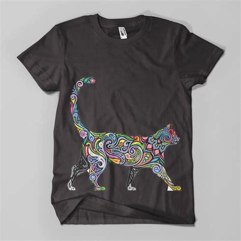 design t shirt hipster floral cat 1 printed t shirt hipster design meow feline