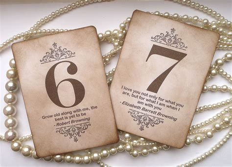 wedding table numbers vintage charm with quotes all by