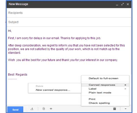 email opening uses of canned responses on gmail