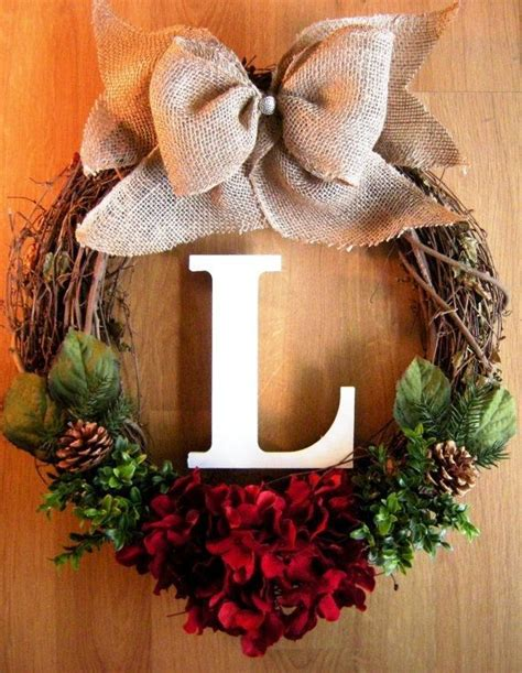 diy grapevine wreath with burlap bow and monogram for 2015