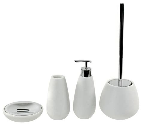 Modern White Bathroom Accessories 4 White Bathroom Accessory Set Contemporary
