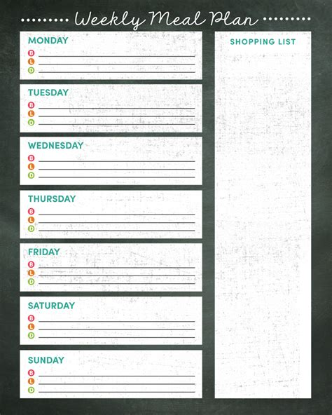 Free Meal Plan Calendar Printable weekly meal planner printable