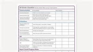 checklist for printable iep binder checklist
